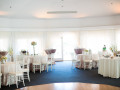 room with white draping around