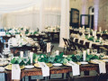 evergreen carriage house wedding table setup