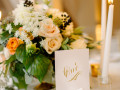table set with number and centerpiece