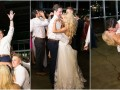 bride and groom slow dancing, groom lifted by friends